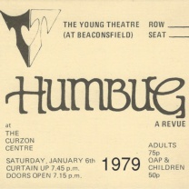 Humbug<br />Jan<br />Searchable Cast & Crew, programme cover, ticket, 27-Mar-2018.